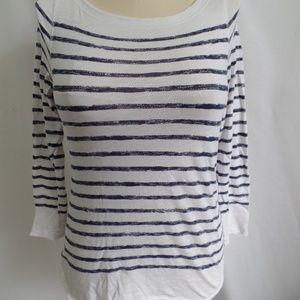 Ann Taylor LOFT Blue White Stripe Knit Top PM